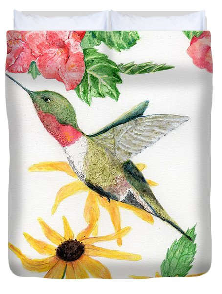 Duvet Cover featuring the painting Hummingbird by Peggy A Borel