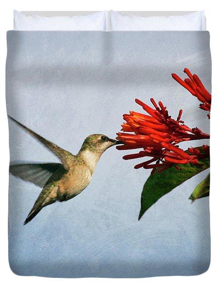 Hummingbird Red Flowers Duvet Cover