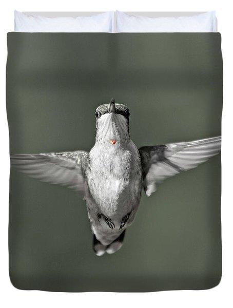 Hummingbird Red Heart Duvet Cover