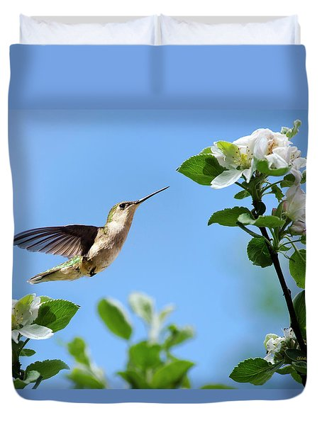 Duvet Cover featuring the photograph Hummingbird Springtime by Christina Rollo