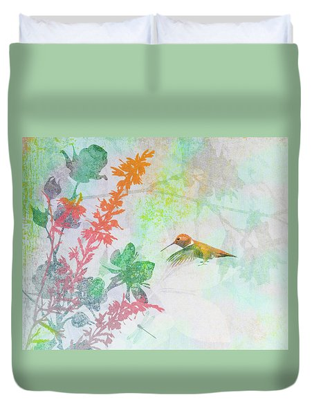 Duvet Cover featuring the digital art Hummingbird Summer by Christina Lihani