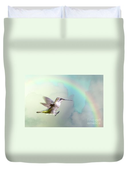 Duvet Cover featuring the photograph Hummingbird Under Rainbow by Bonnie Barry