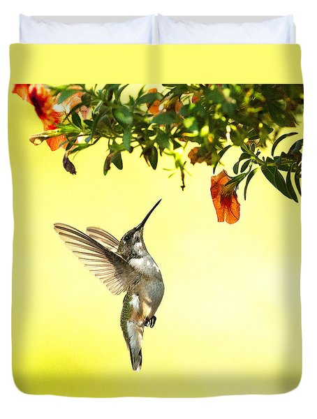 Hummingbird Under The Floral Canopy Duvet Cover