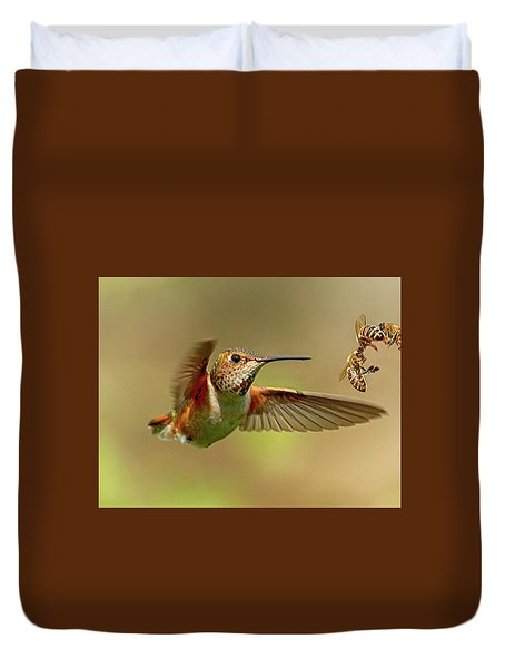 Hummingbird Vs. Bees Duvet Cover