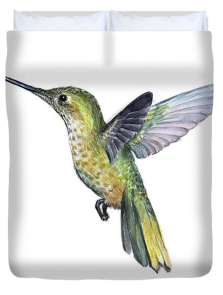 Hummingbird Watercolor Illustration Duvet Cover