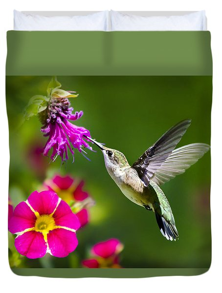 Hummingbird With Flower Duvet Cover by Christina Rollo