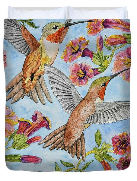 Hummingbirds And Hibiscus II Duvet Cover
