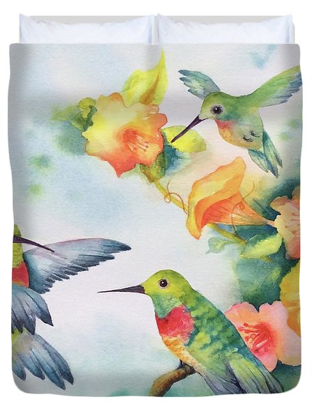 Hummingbirds With Orange Flowers Duvet Cover