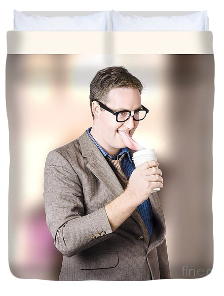 Humorous Businessman Licking Top Of Coffee Cup Duvet Cover