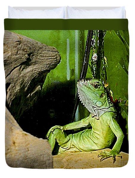Humorous Pet Iguana Photo Duvet Cover by Carol F Austin