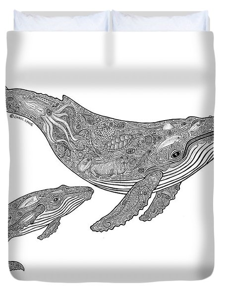 Humpback And Calf Duvet Cover