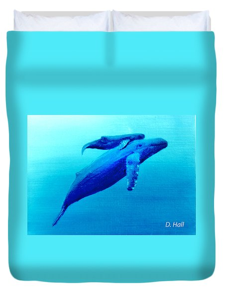 Humpback Mother Whale And Calf  #11 Duvet Cover by Donald k Hall