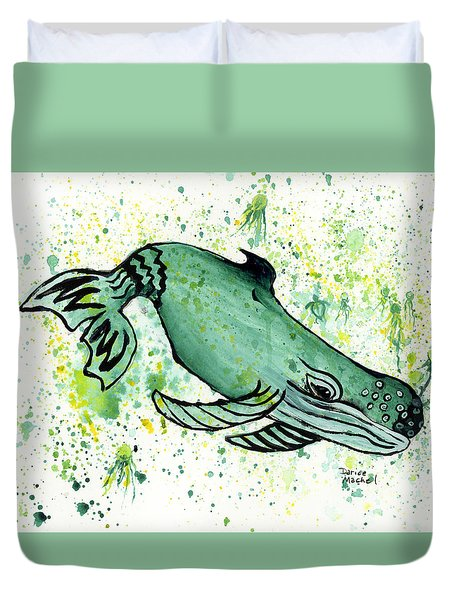 Humpback Whale And Jellyfish Duvet Cover by Darice Machel McGuire