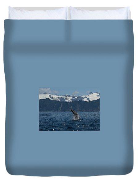 Humpback Whale Breach Seward Duvet Cover