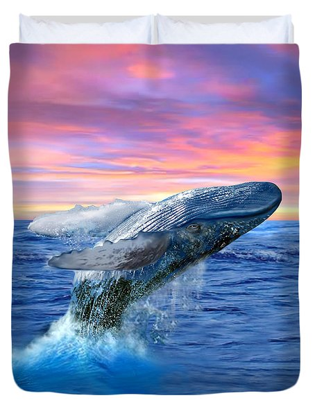 Humpback Whale Breaching At Sunset Duvet Cover