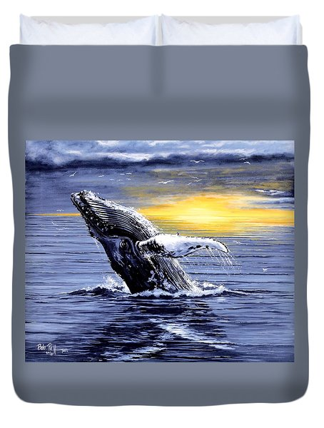 Humpback Whale Breaching Duvet Cover by Bob Patterson