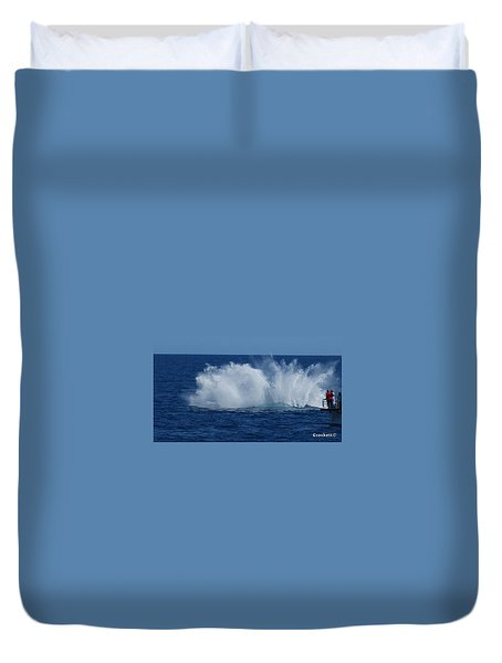 Humpback Whale Breaching Close To Boat 23 Image 3 Of 4 Duvet Cover