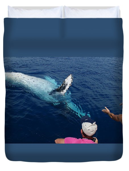 Humpback Whale Reaching Out Duvet Cover