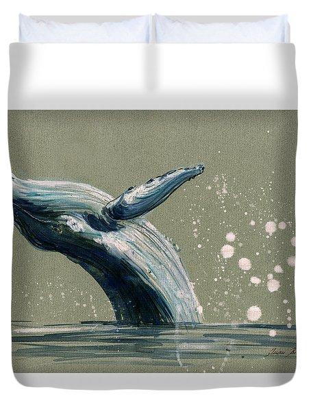 Humpback Whale Swimming Duvet Cover by Juan  Bosco