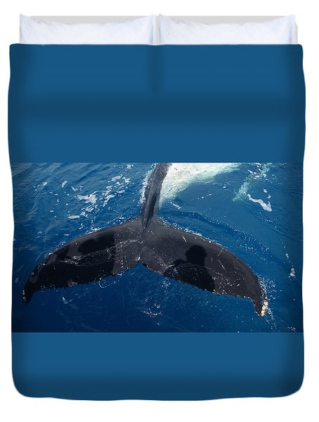 Humpback Whale Tail With Human Shadows Duvet Cover