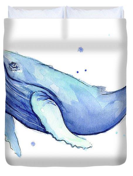 Humpback Whale Watercolor Duvet Cover