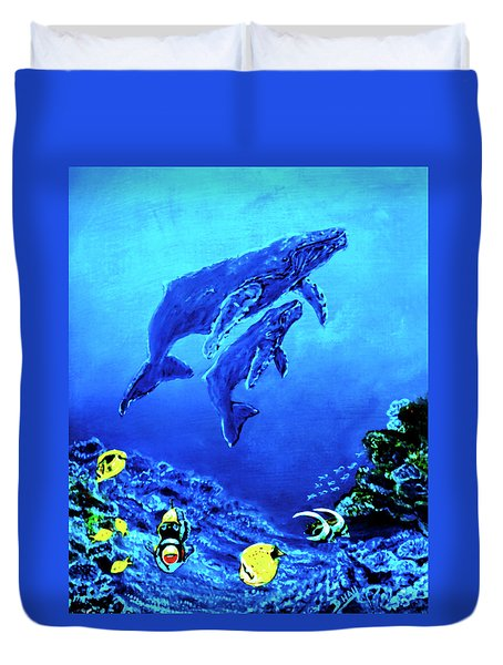 Humpback Whales Hawaii An Reef #14 Duvet Cover by Donald k Hall