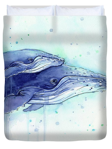 Humpback Whales Mom And Baby Watercolor Painting - Facing Right Duvet Cover by Olga Shvartsur