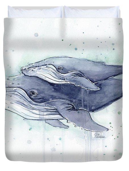 Humpback Whales Painting Watercolor - Grayish Version Duvet Cover by Olga Shvartsur