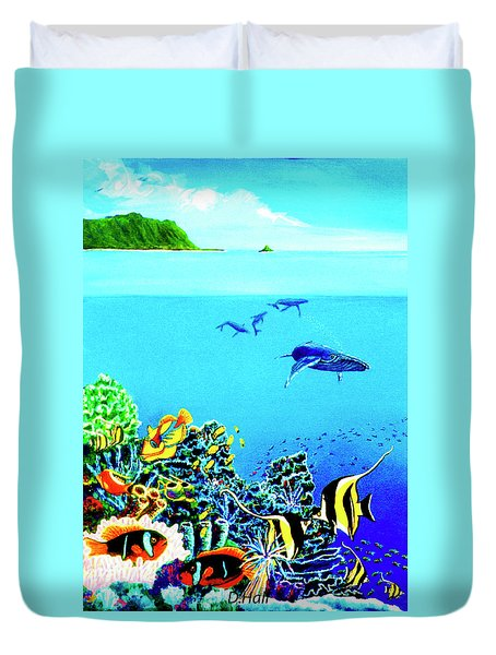 Humpback Whales, Reef Fish #252 Duvet Cover by Donald k Hall