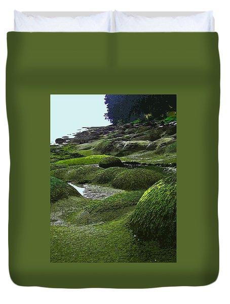 Humps And Bumps, Gabriola Shoreline Duvet Cover by Anne Havard