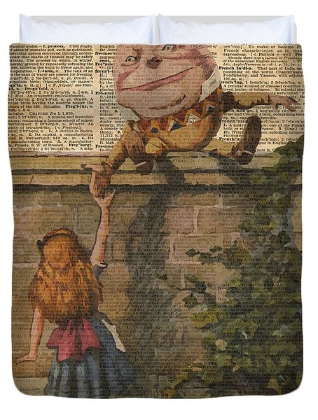 Humpty Dumpty Alice In Wonderland Vintage Dictionary Art Duvet Cover