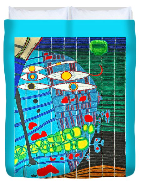 Hundertwasser Blue Moon Atlantis Escape To Outer Space In 3d By J.j.b Duvet Cover