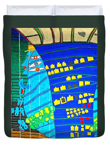 Hundertwasser Blue Moon Atlantis Escape To Outer Space Duvet Cover