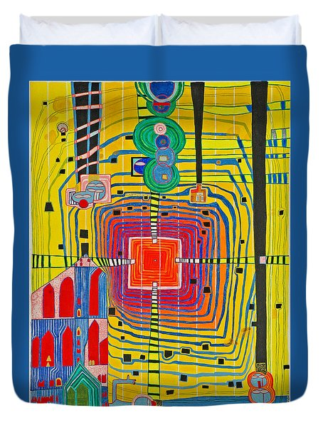 Hundertwassers Close Up Of Infinity Tagores Sun Duvet Cover
