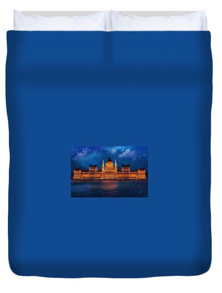 Hungarian Parliament At Night Duvet Cover