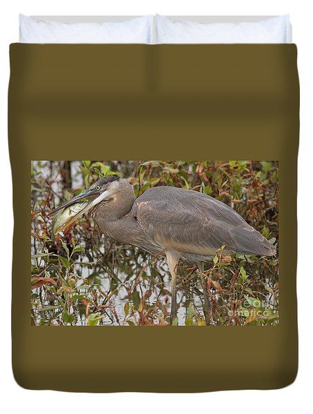 Hungry Heron Duvet Cover