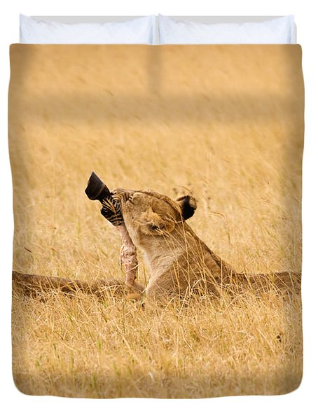 Hungry Lions Duvet Cover by Adam Romanowicz