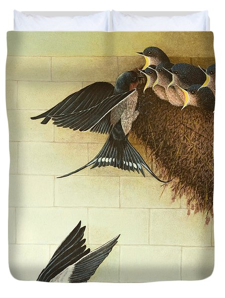 Hungry Mouths Duvet Cover by Pat Scott