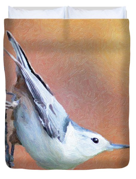 Hungry Nuthatch Duvet Cover