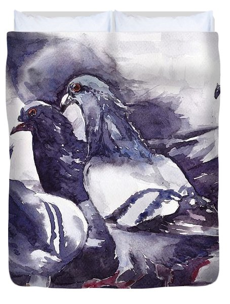 Hungry Pigeons Watercolor Duvet Cover