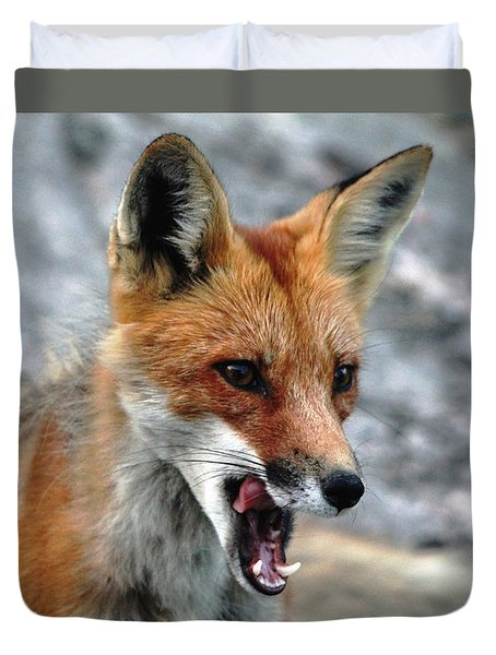 Duvet Cover featuring the photograph Hungry Red Fox Portrait by Debbie Oppermann