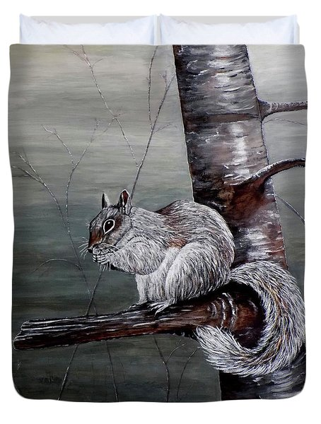Duvet Cover featuring the painting Hungry Squirrel by Judy Kirouac