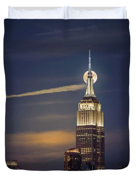 Duvet Cover featuring the photograph Hunter's Moon by Eduard Moldoveanu