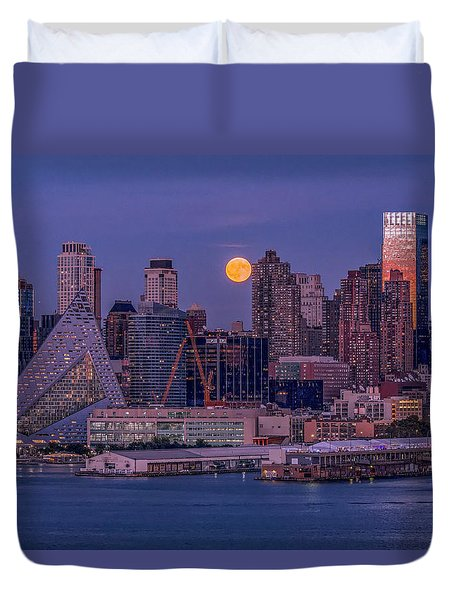 Hunter's Moon Over Ny Duvet Cover