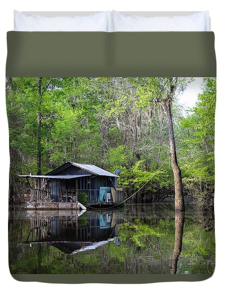 Hunting And Fishing Cabin Duvet Cover
