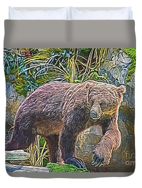 Duvet Cover featuring the digital art Hunting Bear by Ray Shiu