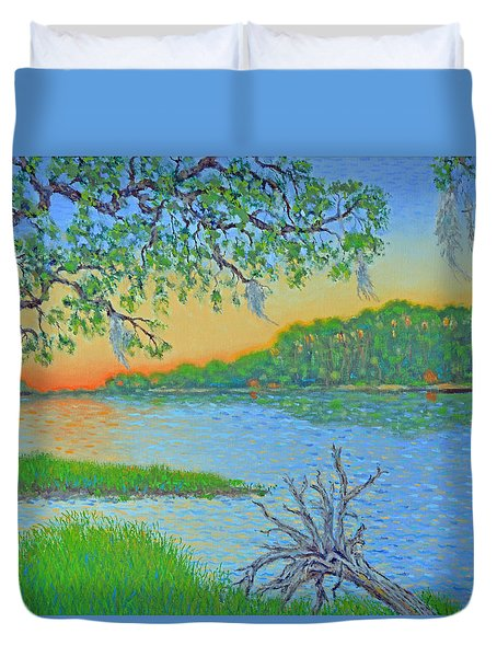 Duvet Cover featuring the painting Hunting Island Lagoon 2 by Dwain Ray