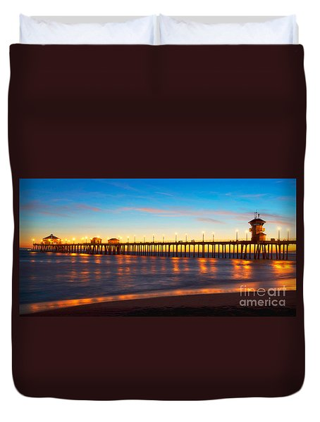 Huntington Beach Pier - Twilight Duvet Cover