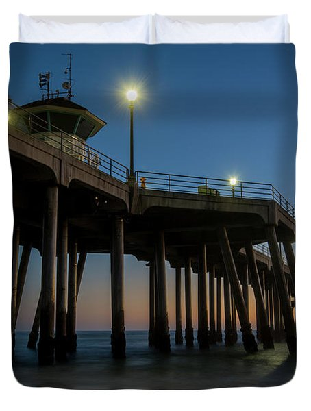 Huntington Beach Pier At Dusk Duvet Cover