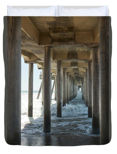 Duvet Cover featuring the photograph Huntington Beach Pier From Below by Ana V Ramirez
